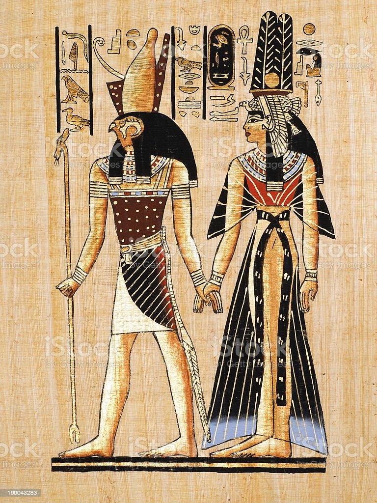 Egyptian papyrus showing Horus and Nefertari stock photo