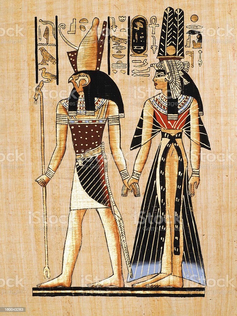 Egyptian papyrus showing Horus and Nefertari stock photo
