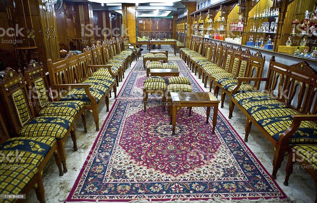 Egyptian perfumery lounge stock photo