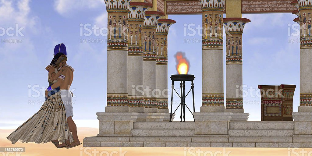 Egyptian Pharaoh and Queen royalty-free stock photo
