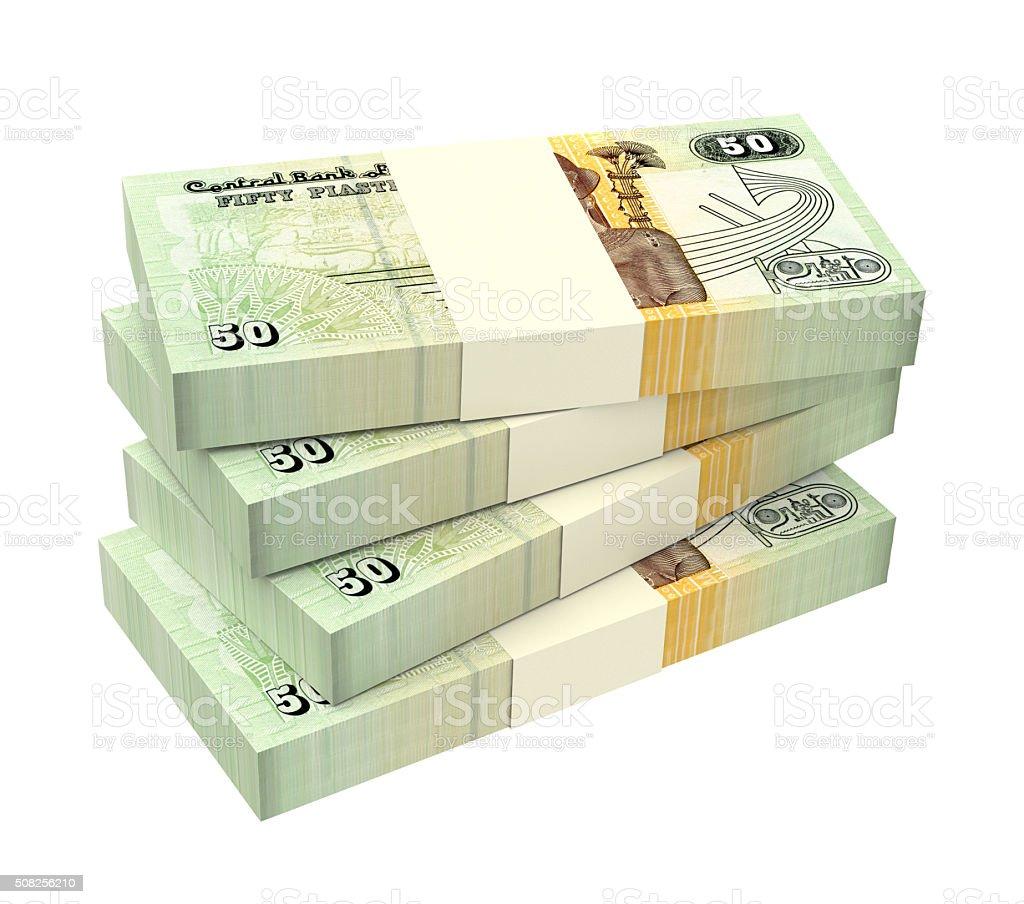 Egyptian piastre bills isolated on white background stock photo