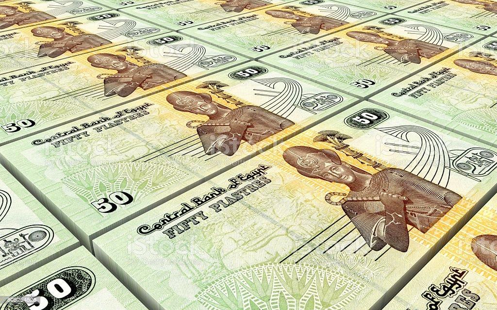 Egyptian piastre bills stacks background stock photo