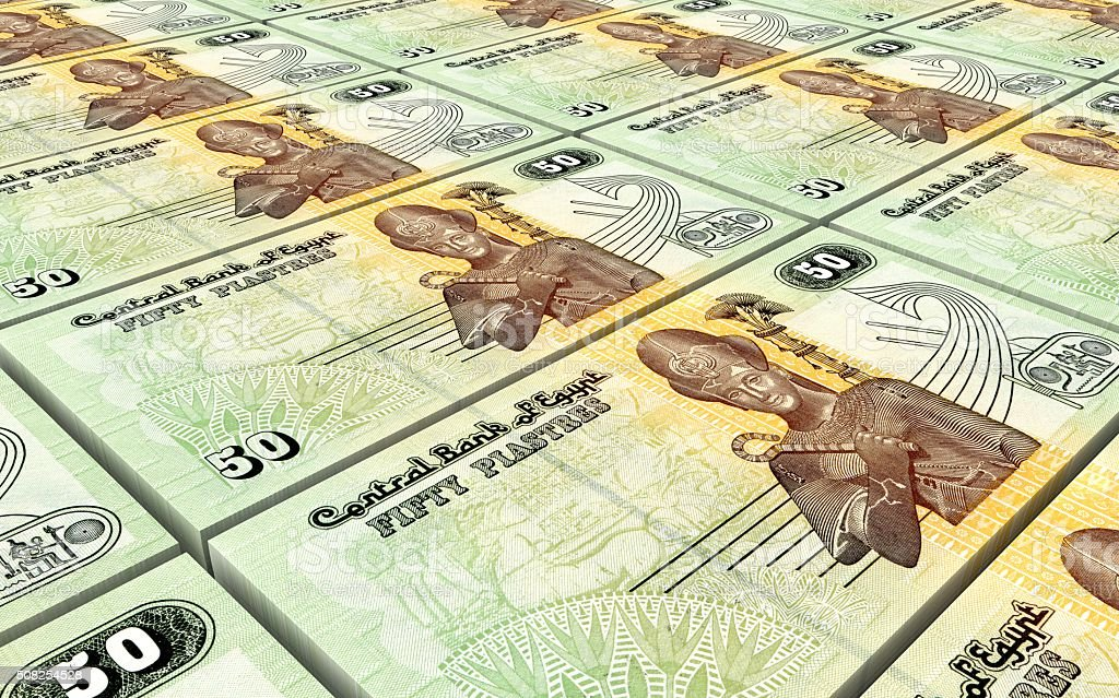 Egyptian piastre bills stacks background stock photo