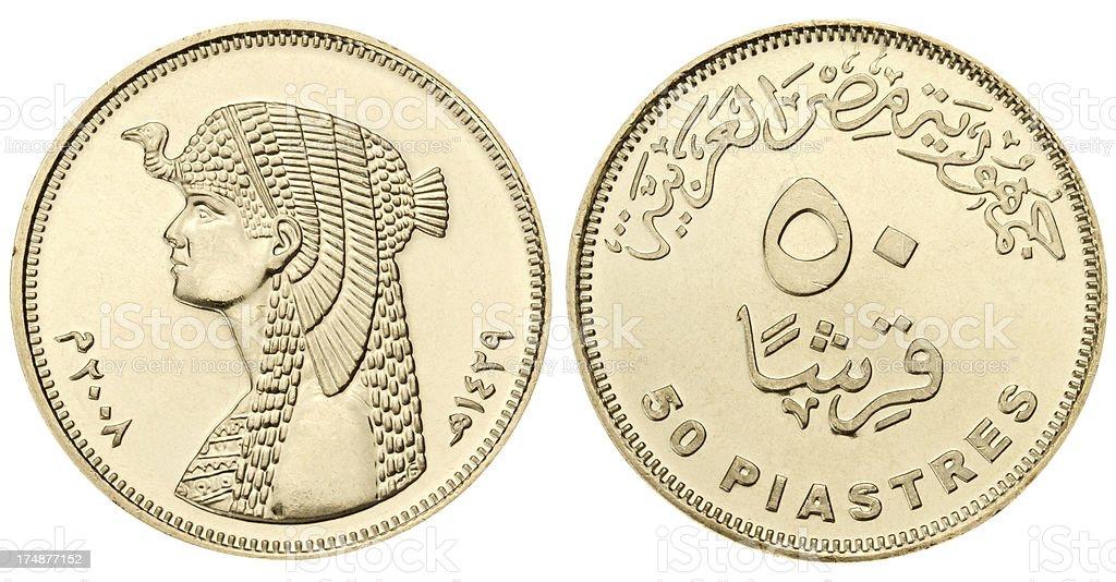 Egyptian piastres stock photo