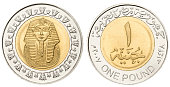 Egyptian pound with clipping path on white background
