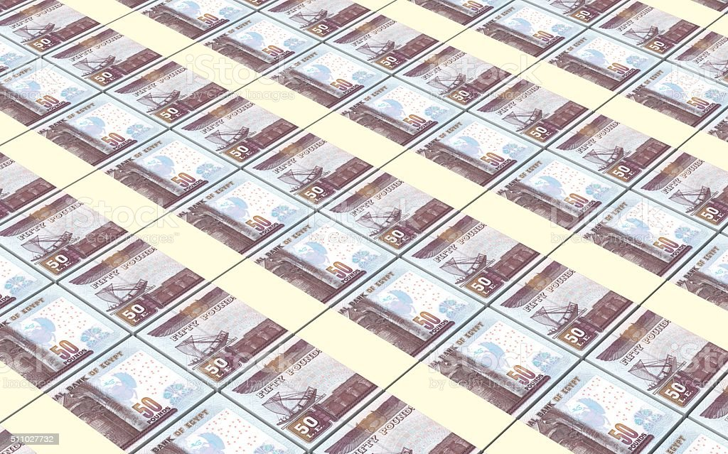 Egyptian pounds bills stacks background. stock photo