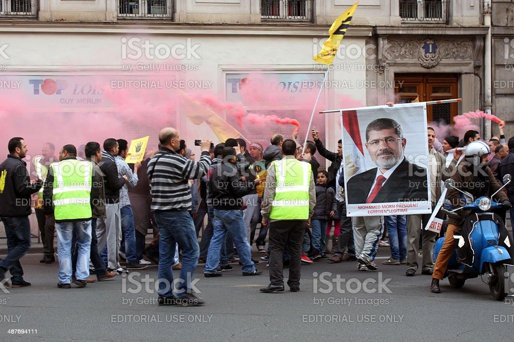 Egyptian Pro-Morsi protesters in Paris, France stock photo