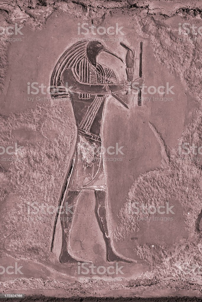 Egyptian relief of Thoth Sepia stock photo