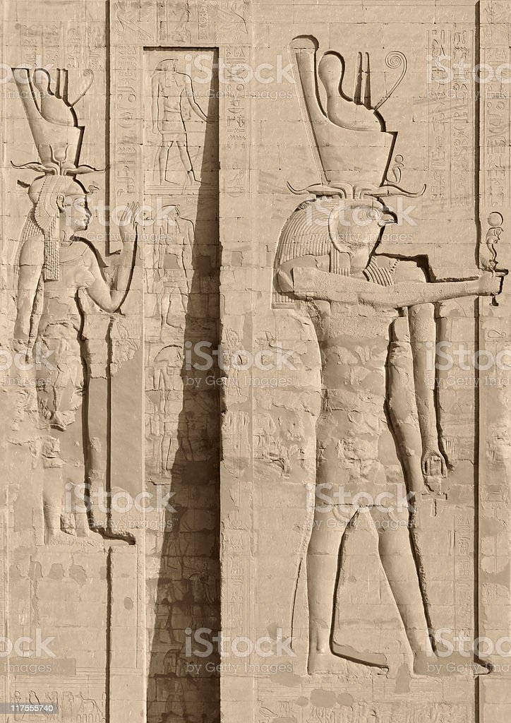 egyptian relief showing Horus royalty-free stock photo