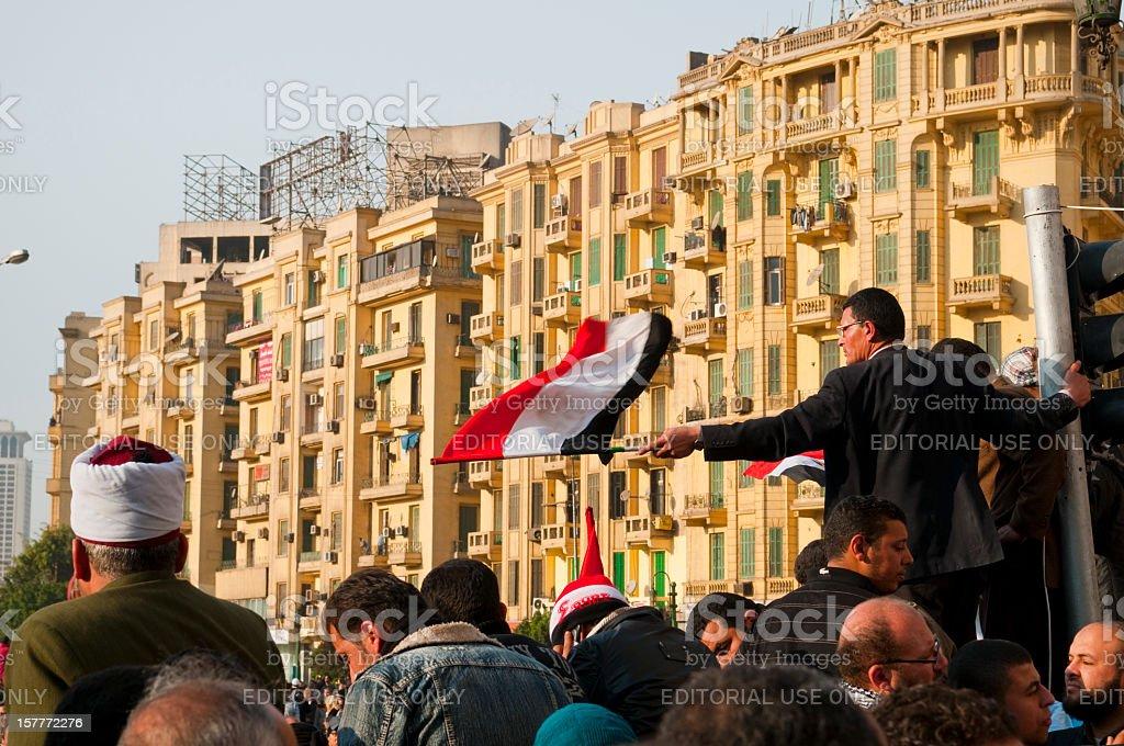Egyptian revolution in Tahrir Square 2011 royalty-free stock photo