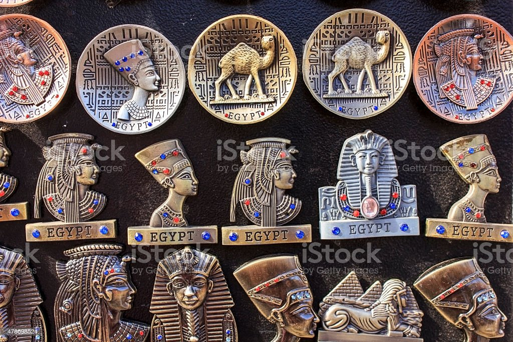 Egyptian souvenirs and statues in small shop,Egypt stock photo