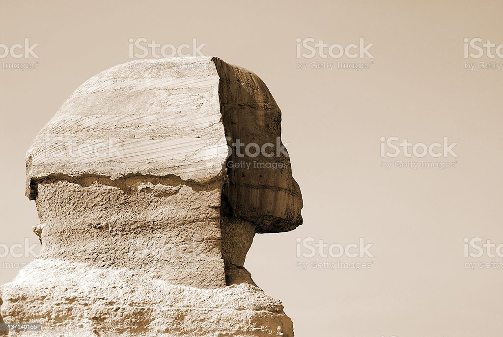 Egyptian sphinx and pyramid in Cairo royalty-free stock photo