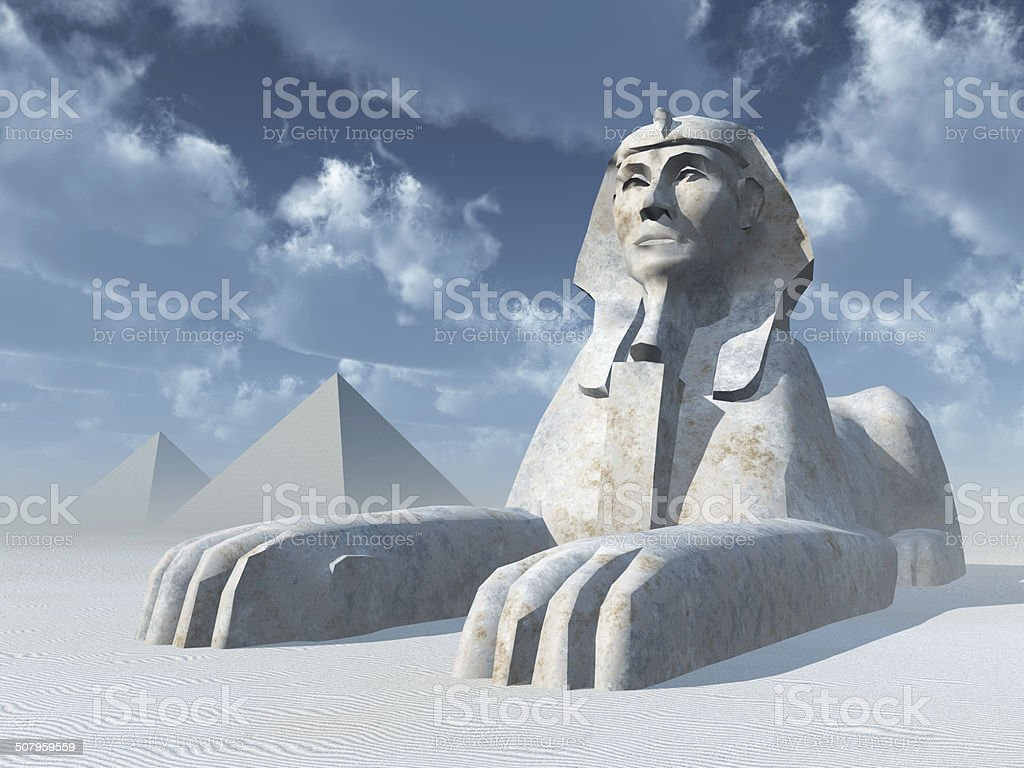 Egyptian Sphinx and Pyramids stock photo