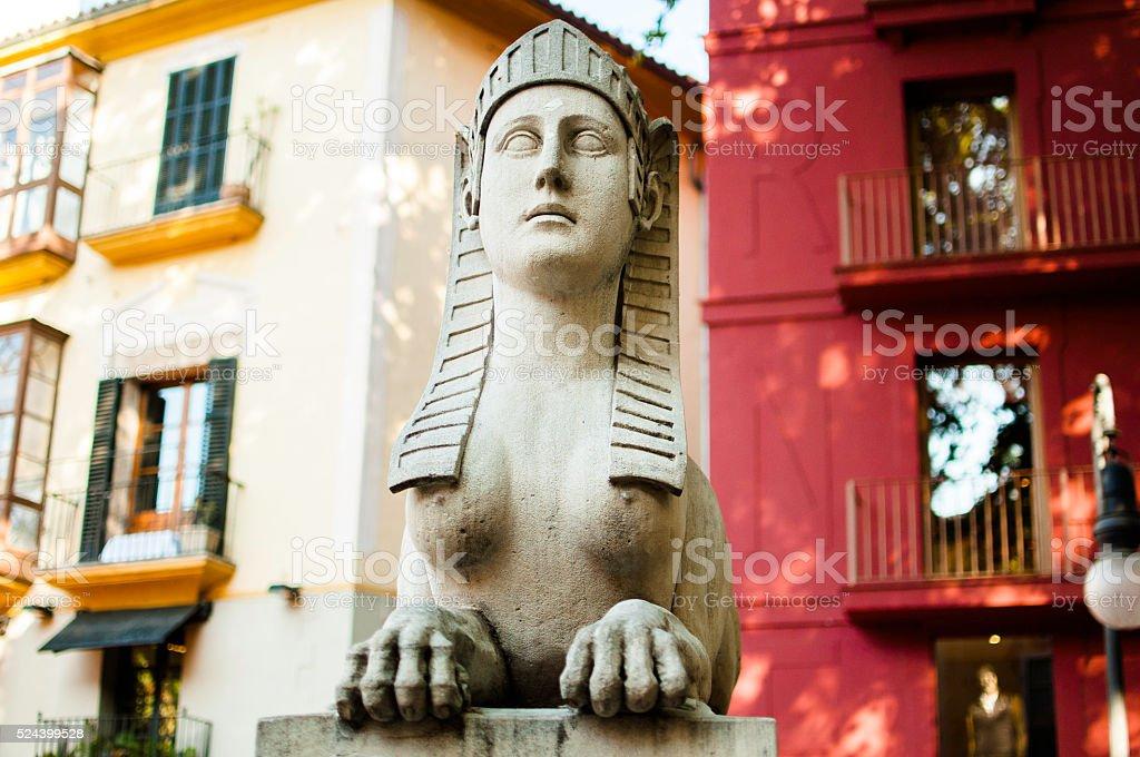 Egyptian statue in Palma de Mallorca stock photo