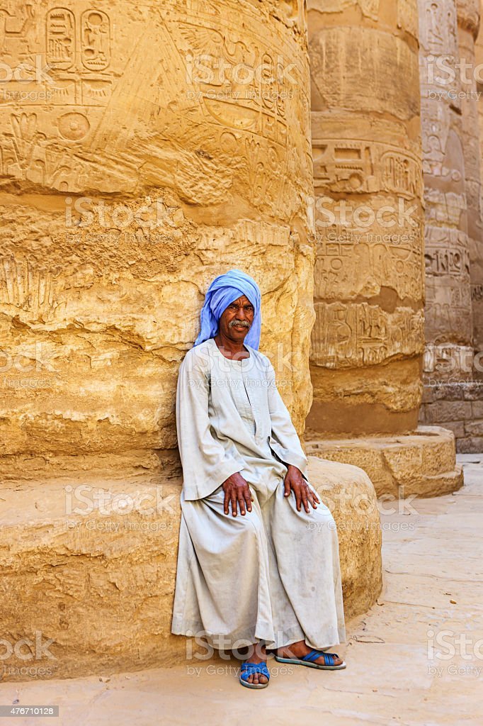 Egyptian temple guard in Karnak Complex, Luxor, Egypt stock photo
