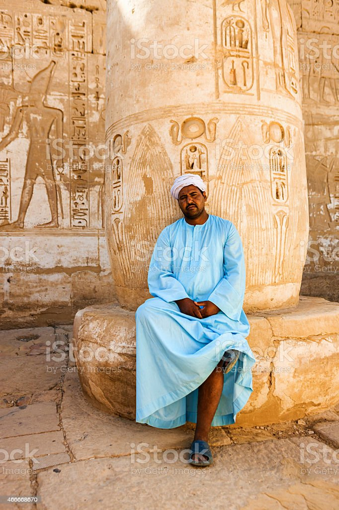 Egyptian temple guard in Medinet Habu, Luxor, Egypt stock photo