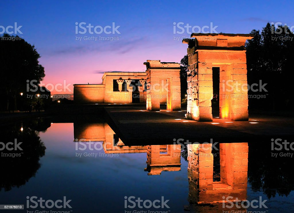 Egyptian temple in Madrid Debod stock photo