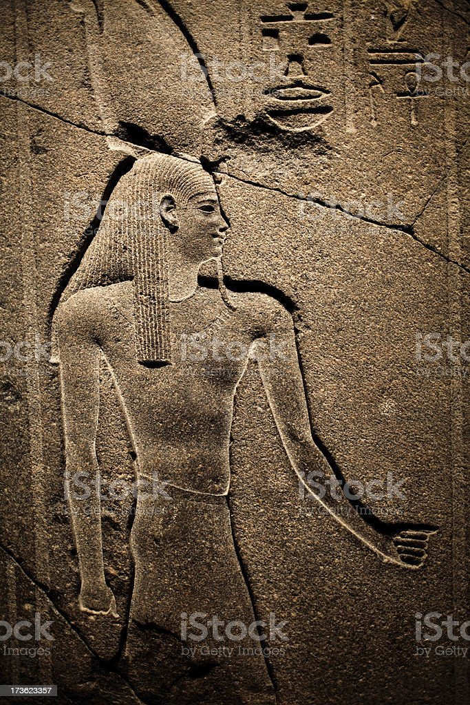 egyptian wall scuplture royalty-free stock photo