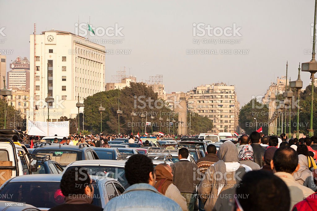 Egyptians celebrating in the streets stock photo