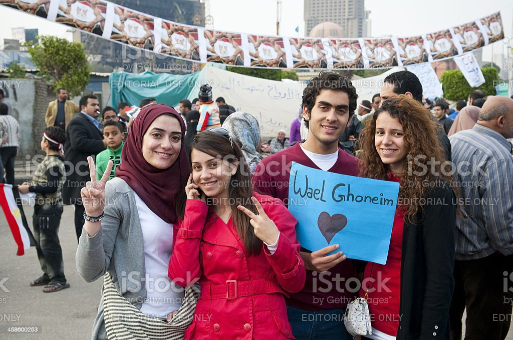 Egyptians supporting Wael Ghonim in Tahrir Square royalty-free stock photo