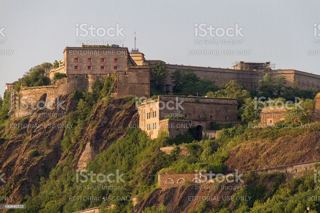 Ehrenbreitstein Fortress, Koblenz, Germany bathed in afternoon l stock photo