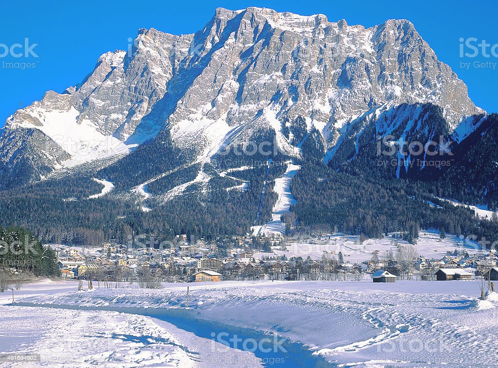 Ehrwald,Tirol,Zugspitze Mountain,Austria stock photo