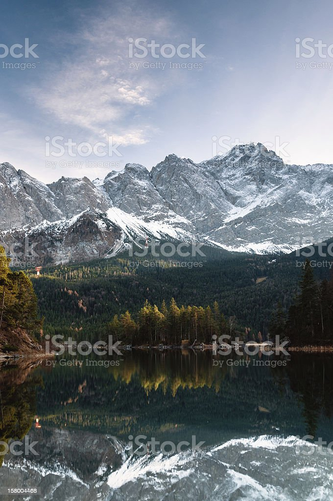 Eibsee and Zugspitze royalty-free stock photo