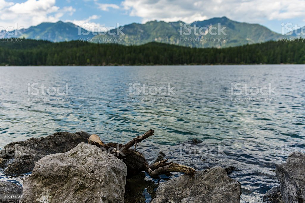 Eibsee in front of mountain landscape stock photo