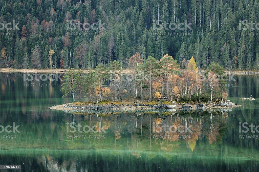 Eibsee Island in Fall royalty-free stock photo