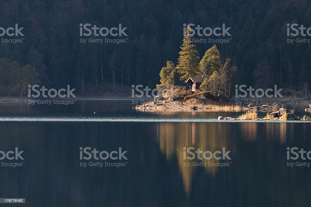 Eibsee Island in Fall stock photo