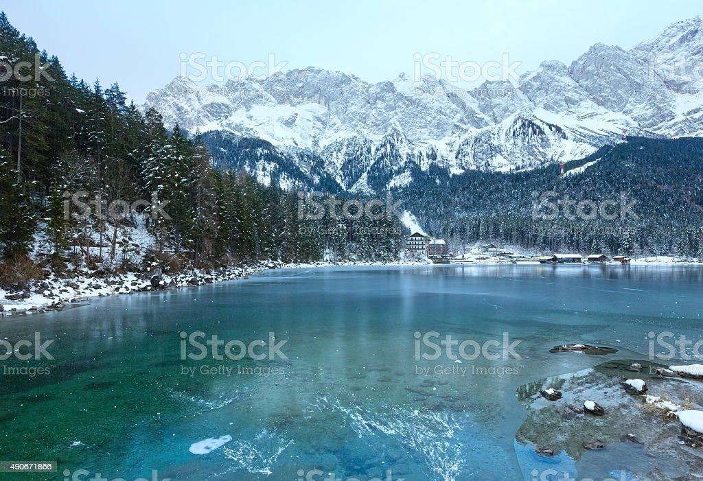 Eibsee lake winter view. stock photo