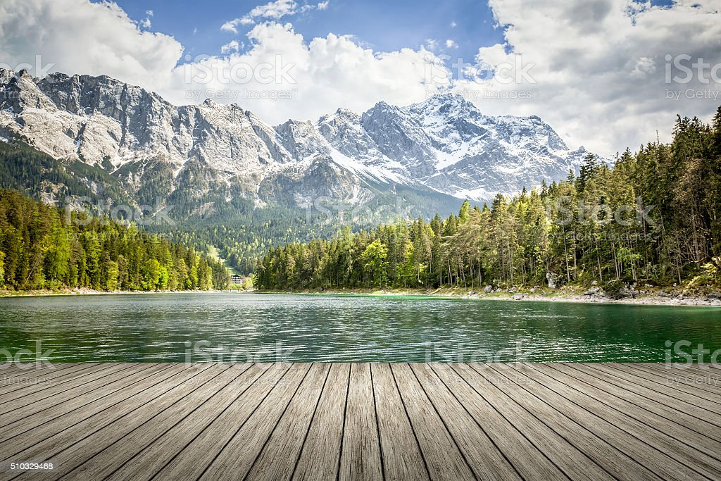Eibsee Zugspitze stock photo