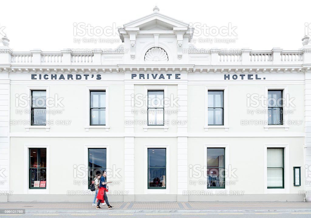 Eichardt's Private Hotel'€™s classic building, located at Queenstown lakefront stock photo