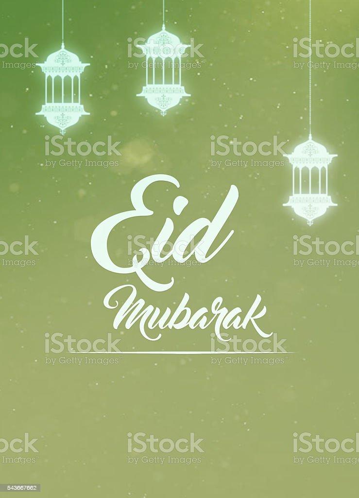 Eid mubarak greeting card stock photo