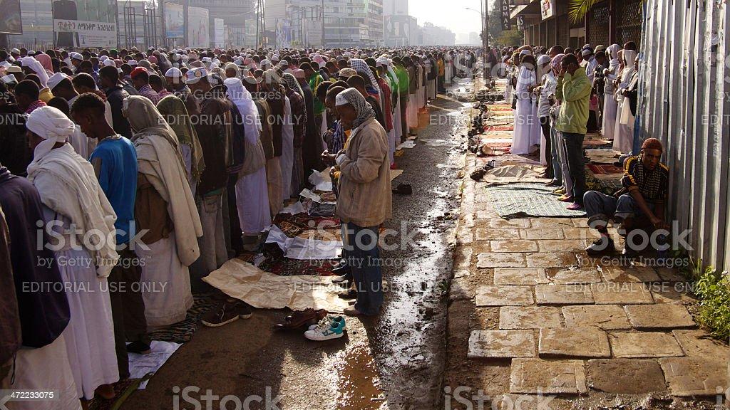 Eid Ul-Fitr praying stock photo