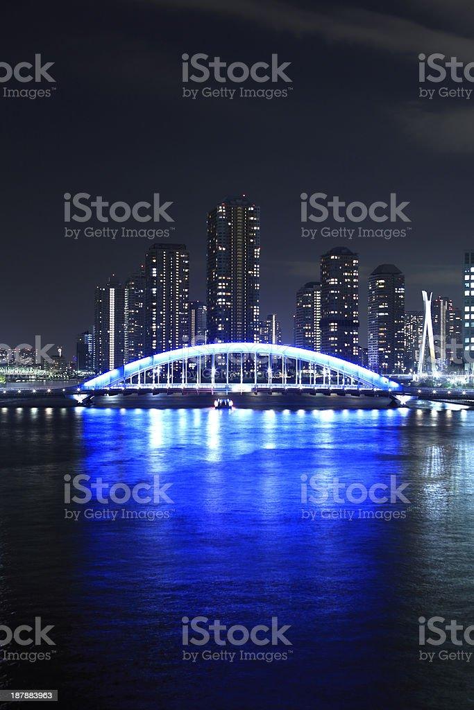 Eidai Bridge and Sumida River in Tokyo, Japan stock photo