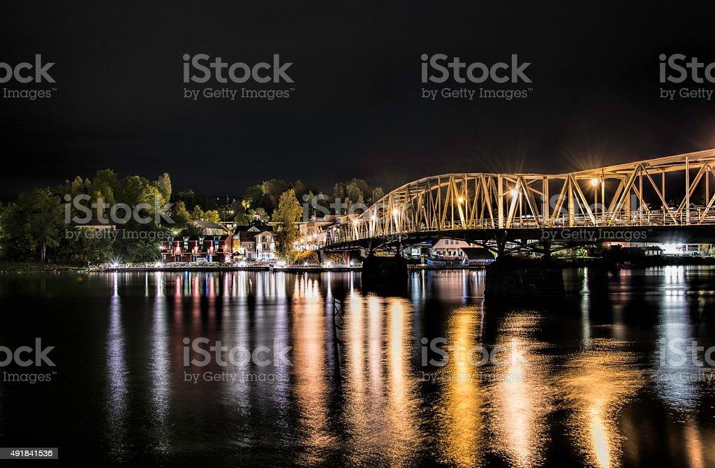 Eidsvoll by night stock photo