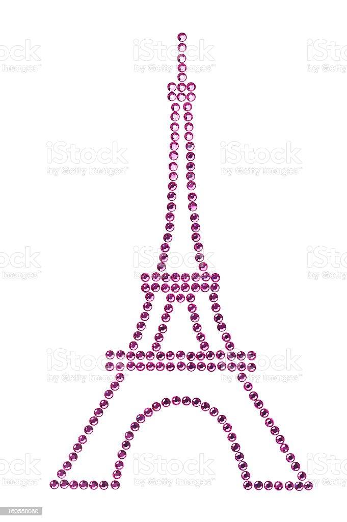 Eifel Tower in Pink made of Rhinestones royalty-free stock photo