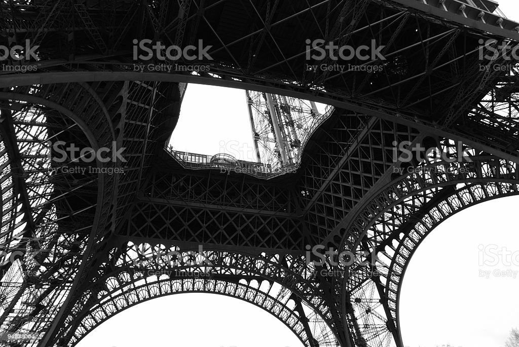 Eiffal abstract black and white stock photo