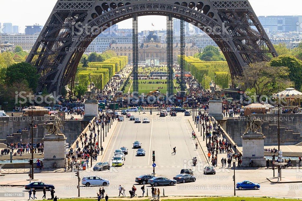 Eiffel base Paris stock photo