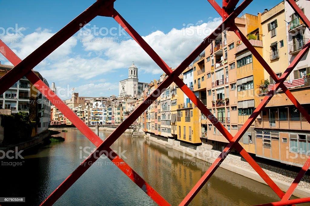 Eiffel Bridge Frame - Girona - Spain stock photo