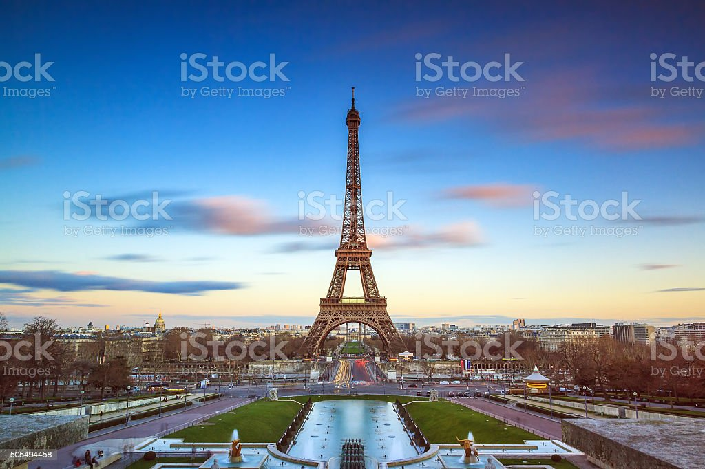 Eiffel color in the sky stock photo