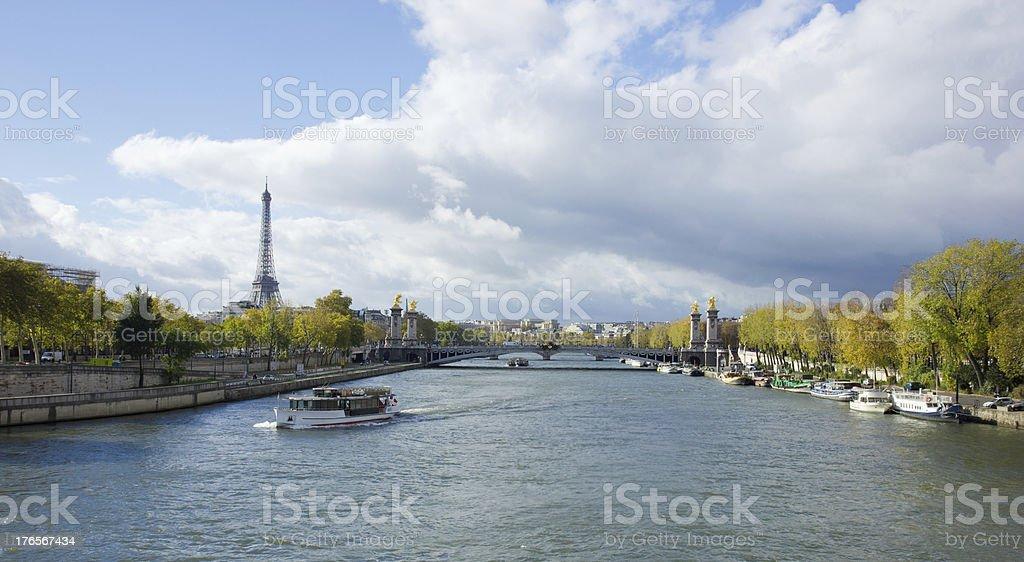 Eiffel Tower, Alexander Third bridge over Seine, Paris royalty-free stock photo