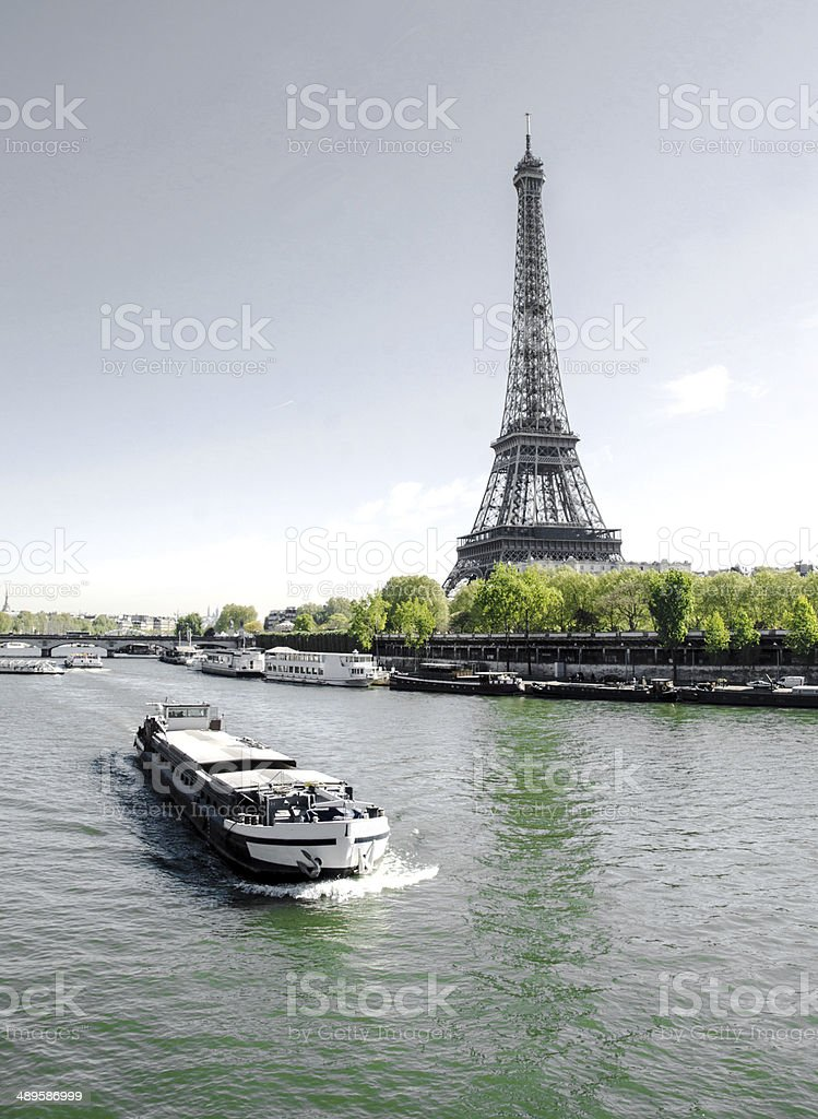 Eiffel Tower and Barge- Paris stock photo
