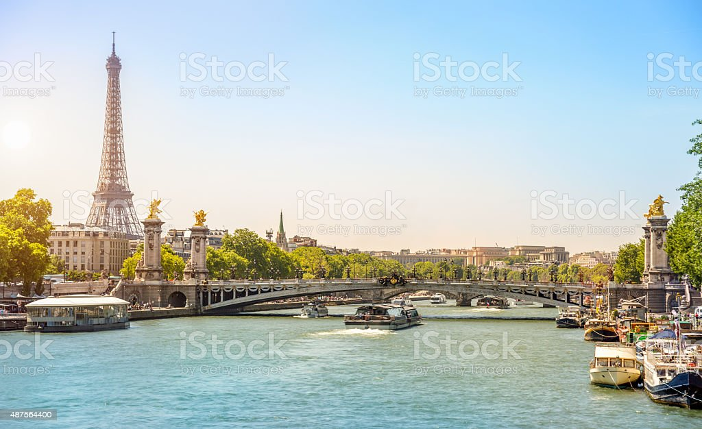 Eiffel Tower and Bridge Alexandre III over Seine River stock photo