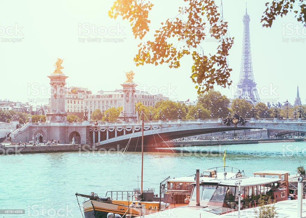 Eiffel Tower and Bridge Alexandre III over Seine River stock photo