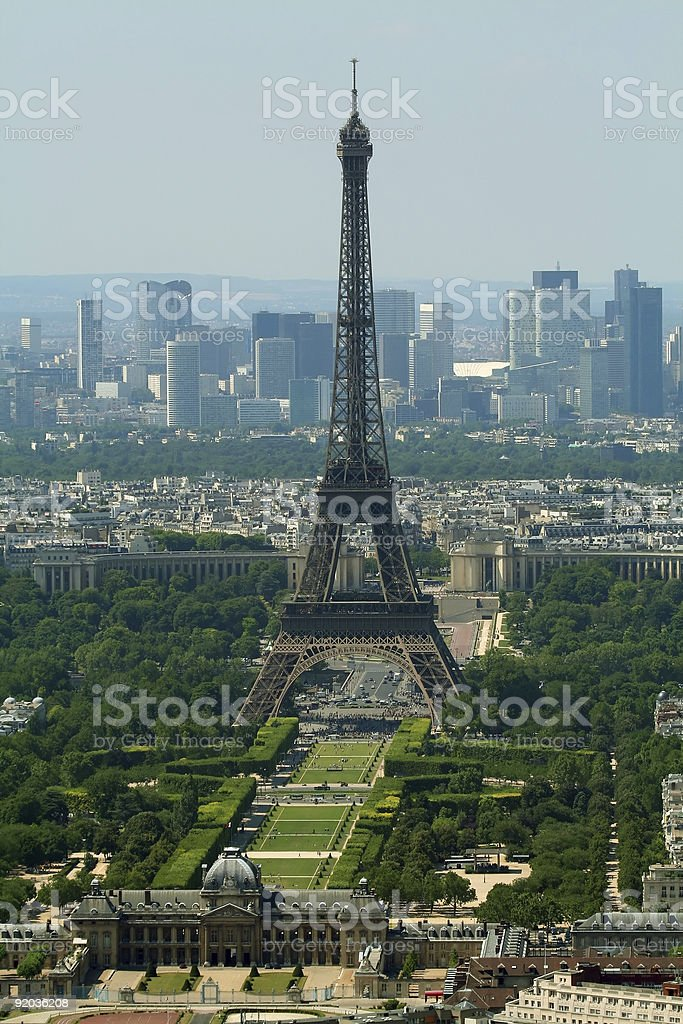 Eiffel tower and Champs de Mars royalty-free stock photo