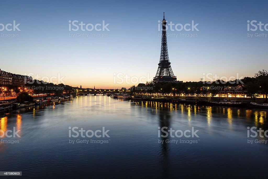 Eiffel Tower and d'Iena Bridge at Dawn, Paris, France stock photo