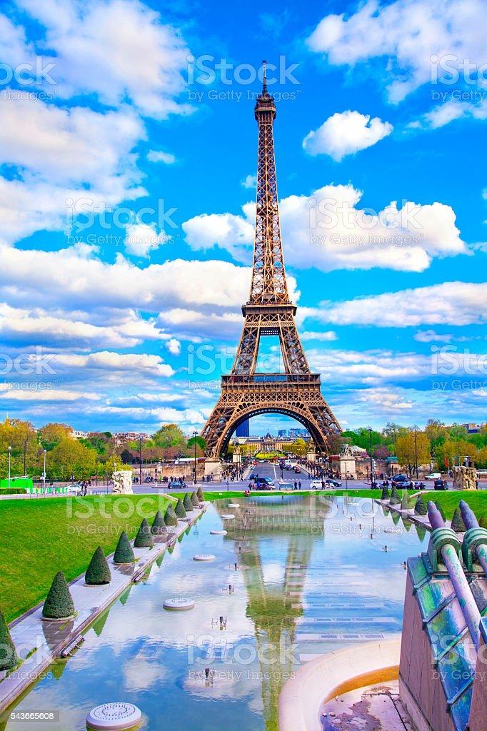 Eiffel Tower and fountain lake, Paris, France stock photo