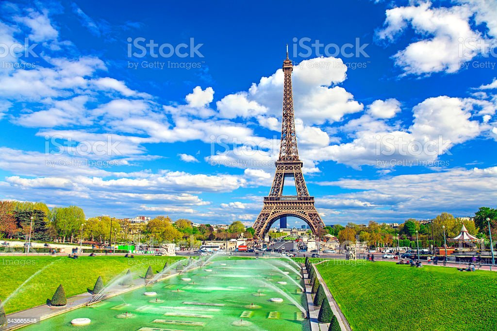 Eiffel Tower and fountain, Paris, France stock photo